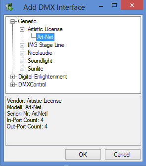 Picture 4: Adding the ArtNet Interface DMXControl 3