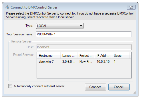 "Picture 4: Lumos GUI ""Connect to DMXControl Server"" window"